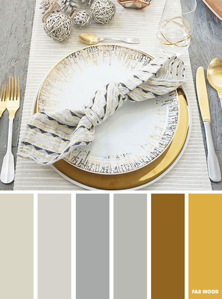 Grey and gold winter color inspiration