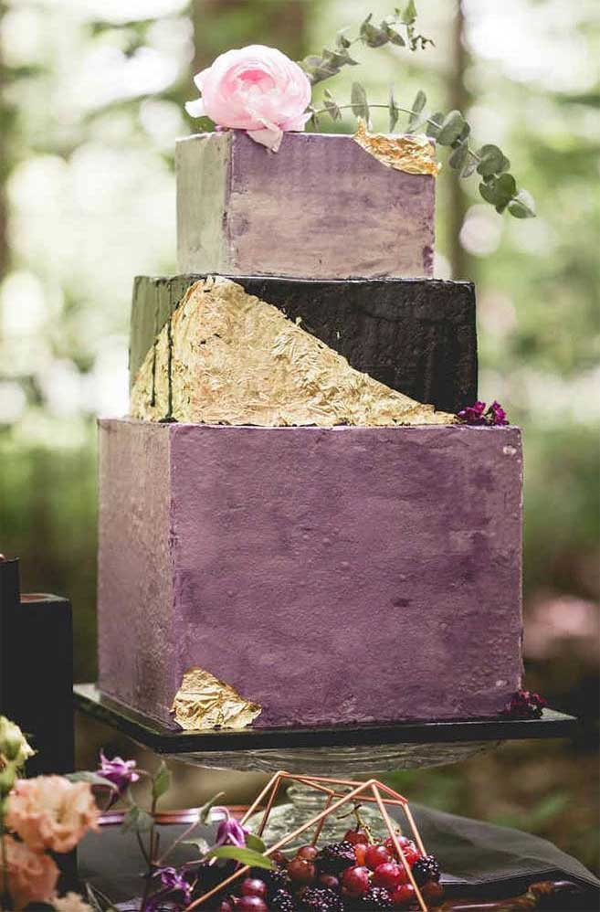 The 50 Most Beautiful Wedding Cakes – Gold leaf and purple geometric wedding cake