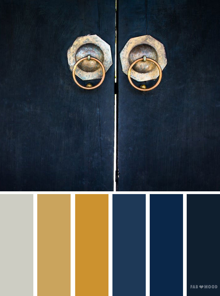 Blue and gold color scheme