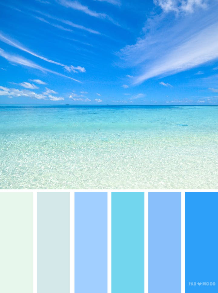 Blue sea inspired color palette, blue sea color scheme
