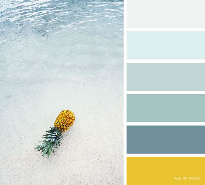 Green ocean and yellow pineapple colour scheme