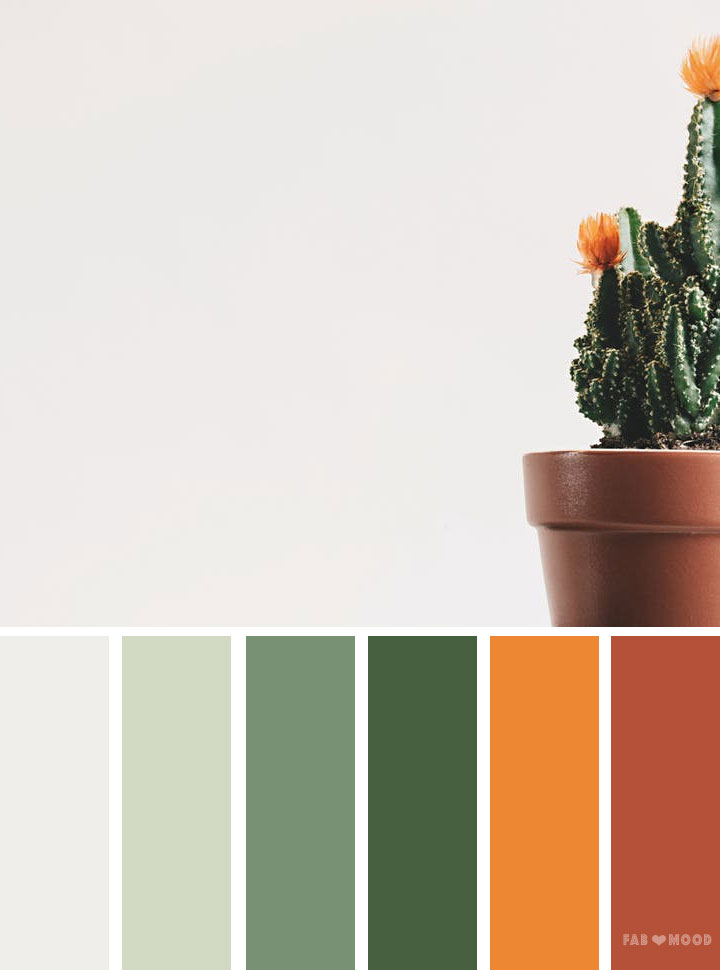 Green orange and terracotta color palette | Emerald and orange #color #colorpalette #inspiration