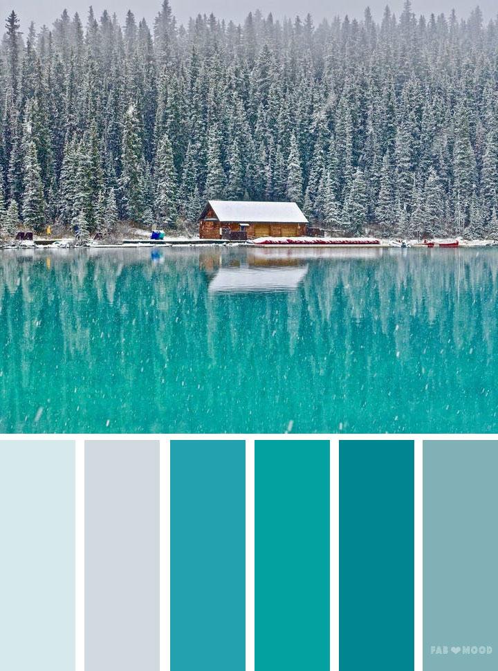 Emerald teal winter landscape color palette