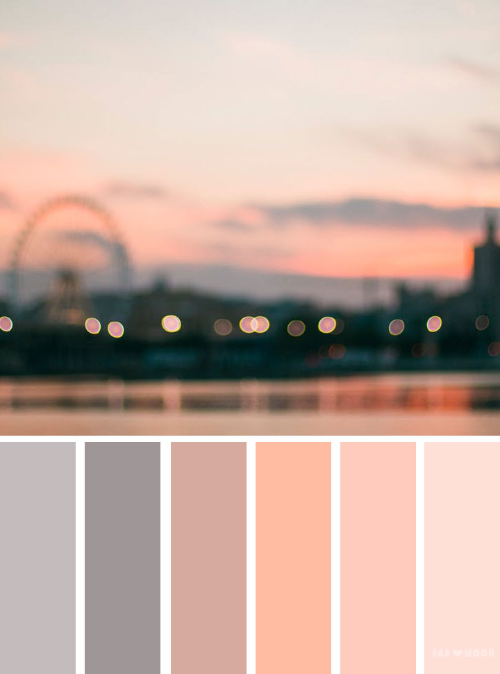 Grey and peach color scheme