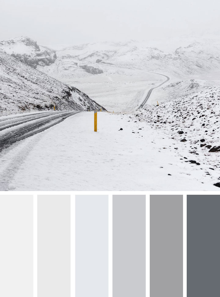 Grey and white winter color palette