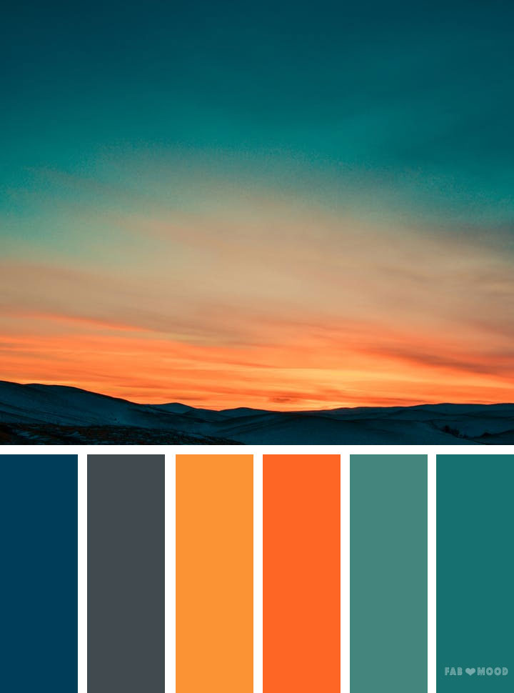 Orange Teal Sky Inspired Color Palette Landscape Color Scheme