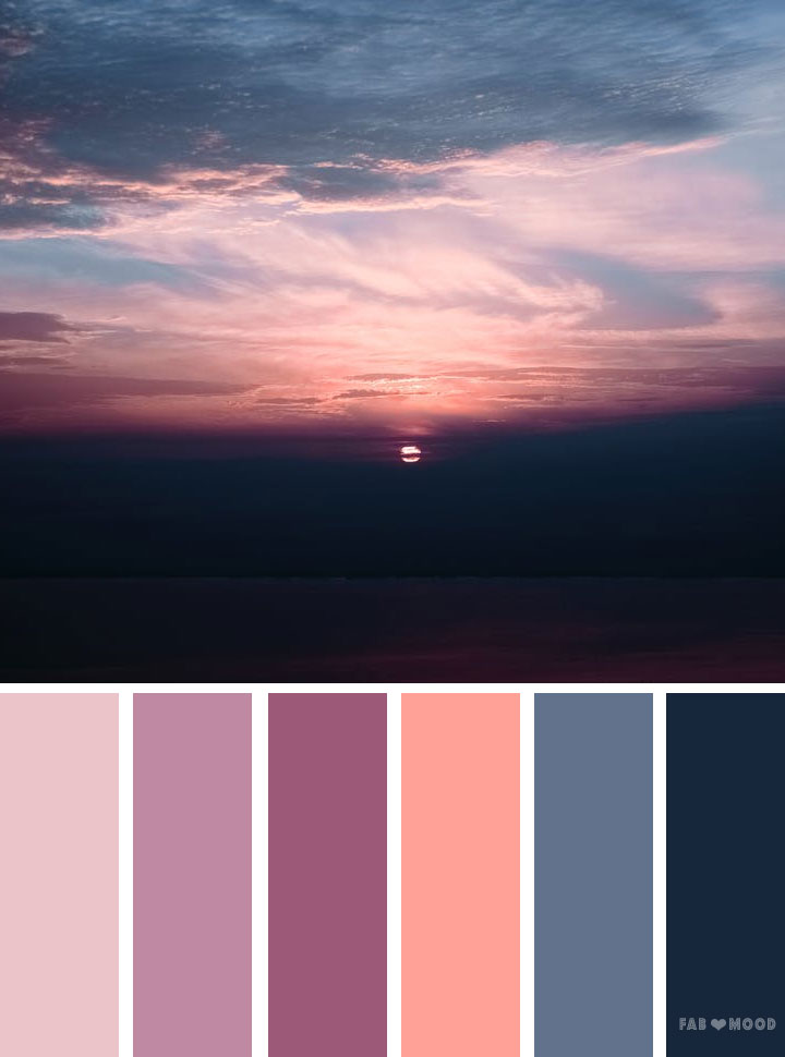 Grey mauve peach sunset inspired color palette