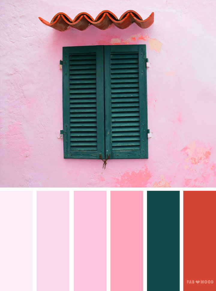 Pink and emerald color scheme