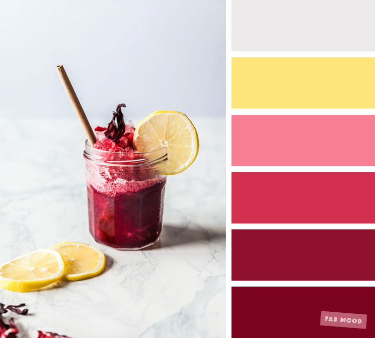 Color inspiration : Berry + grey and yellow