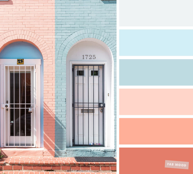 Color Inspiration : Light blue and peach color palette