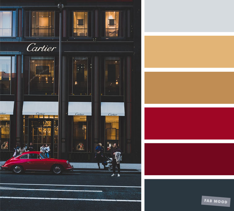 Grey Gold And Red Color Scheme