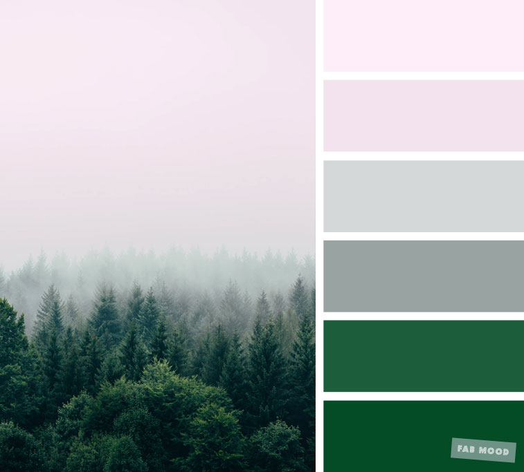 Smokey grey and green color palette - blush and green color combination #color #colorpalette #grey