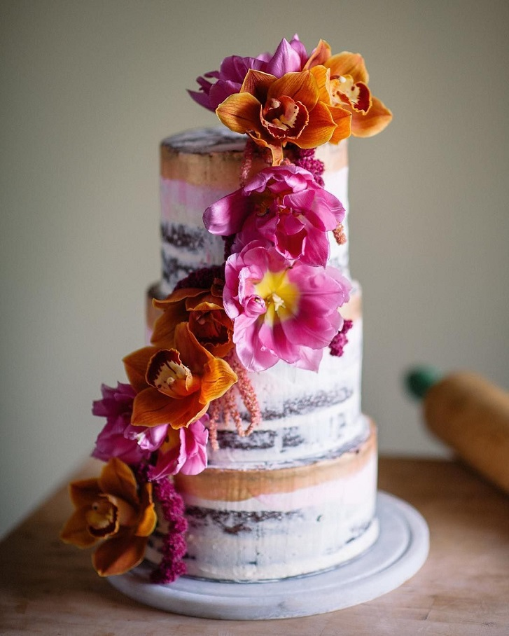 22 Beautiful wedding cakes to inspire you : Semi Naked Wedding Cake adorned with orchids