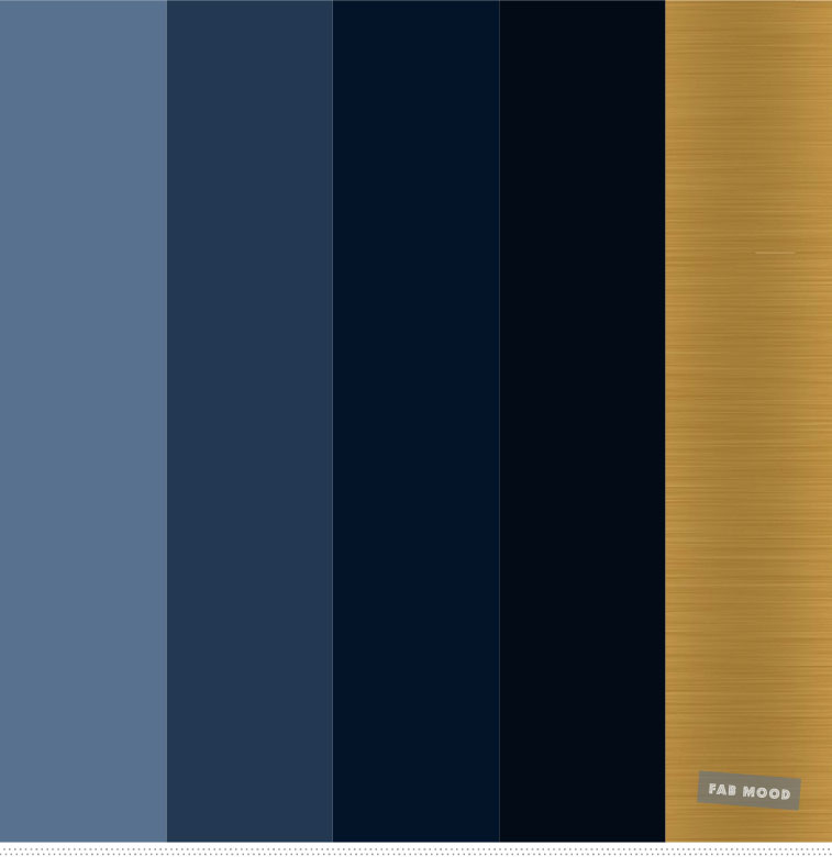 Shades of blue and gold color palette