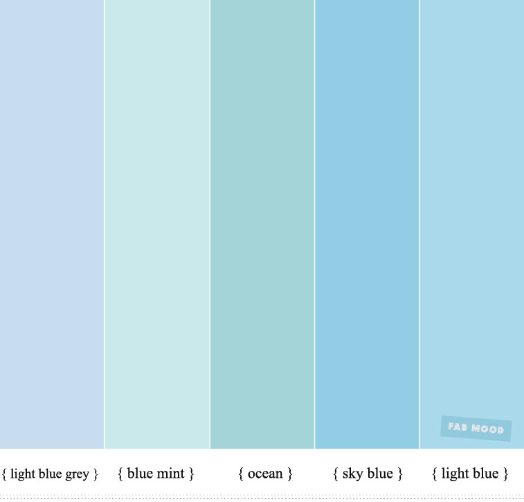 Shades of Blue Color Inspiration : Blue + Mint and Ocean Color Scheme