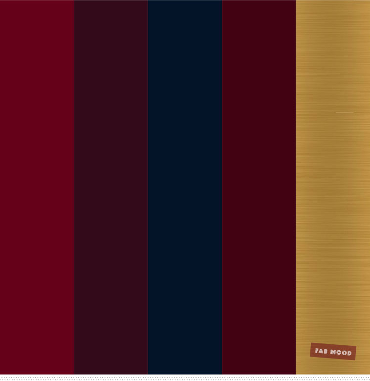 Burgundy , Gold and Navy Blue Color Palette