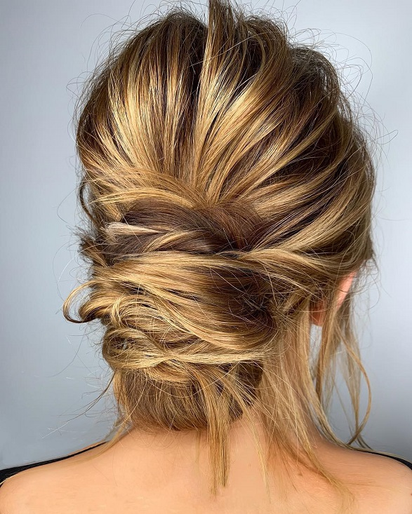 Textured Wrap Updo Braided Updo Hairstylesimple Updo Swept Back