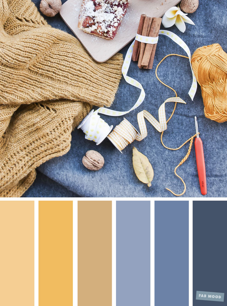 59 Pretty Autumn Color Schemes { Spicy Mustard + Blue Hues }