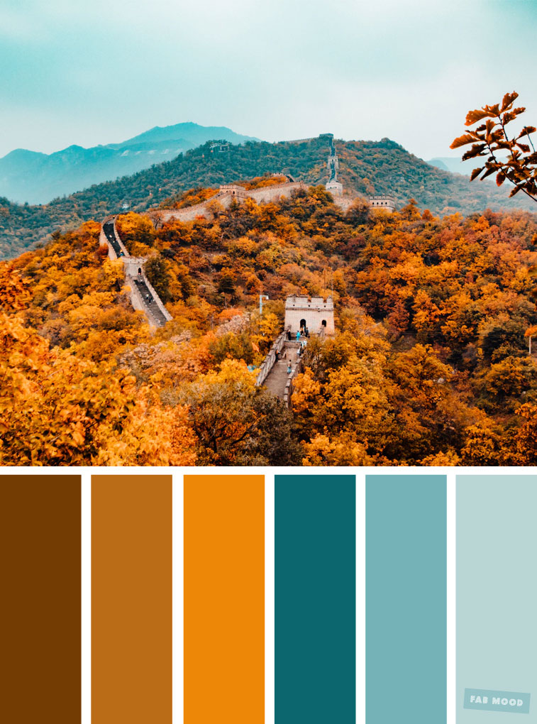 59 Pretty Autumn Color Schemes { Shades of autumn leaves + blue teal  } color palette #color #colorscheme #colorpalette #fall #autumncolour #autumn #fallcolor