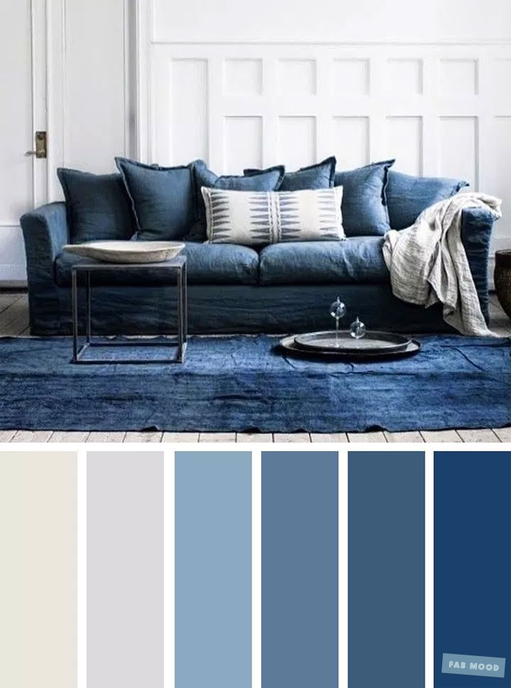 The Best Living Room Color Schemes – Blue & Light Grey Color Palette