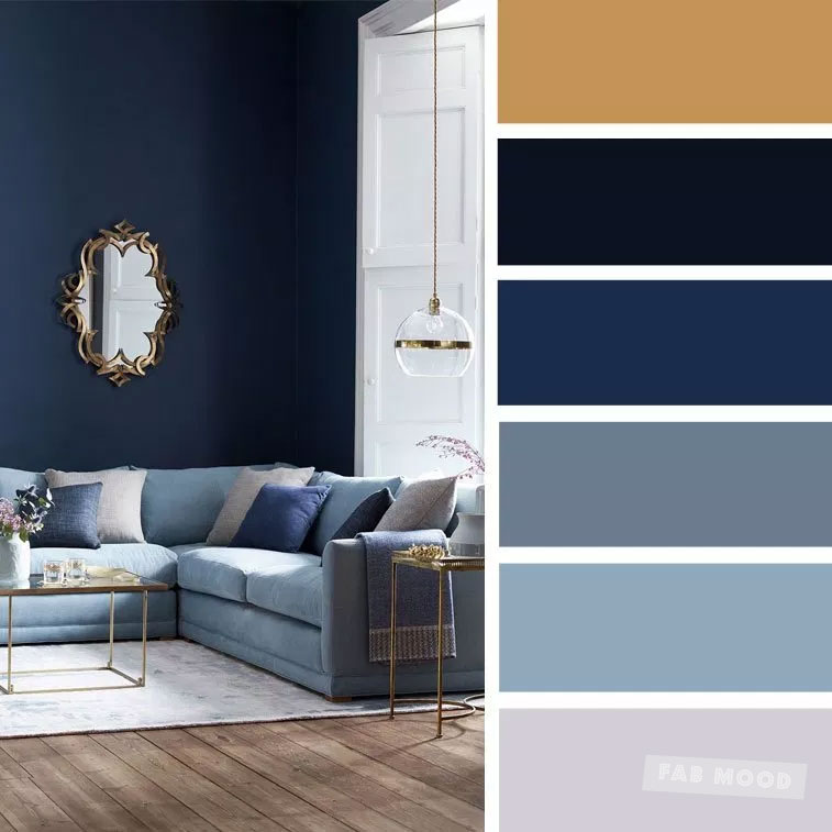 The Best Living Room Color Schemes - Gold + Gray + Blue Color Palette #colors #colorscheme #livingroom