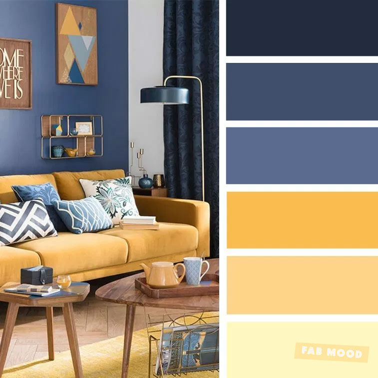 The best living room color schemes – Blue and Mustard Color Palette