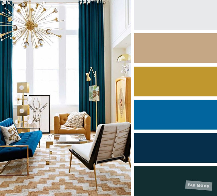 The best living room color schemes – Bright blue +teal + mustard & smokey grey
