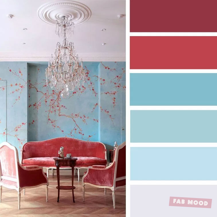 The best living room color schemes – Venetian red and Blue