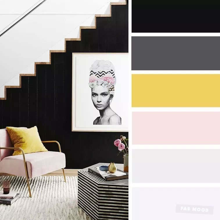 The Best Living Room Color Schemes – Blush + black and mustard Color Palette
