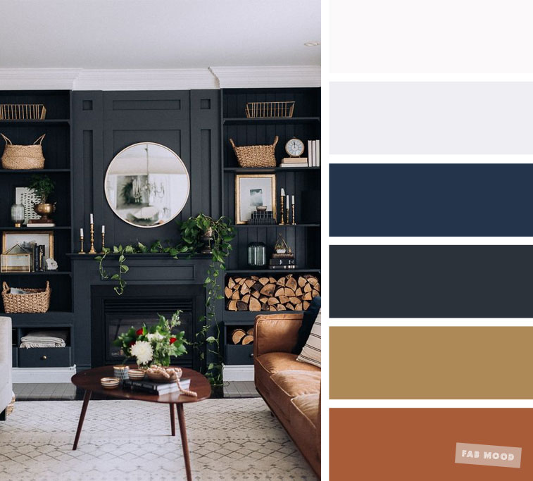 The best living room color schemes – Brown + Gold & Dark Blue Palette
