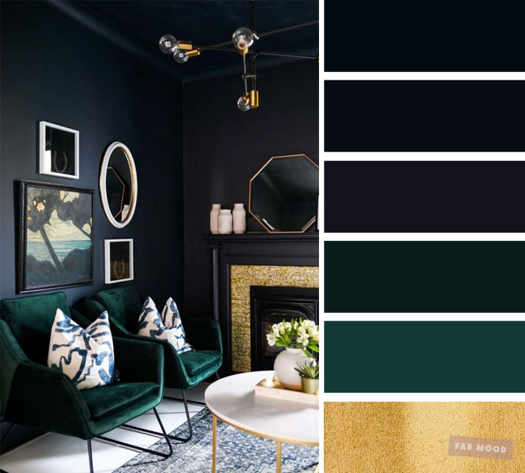 The best living room color schemes – Dark blue, dark green, gold and Blueberry