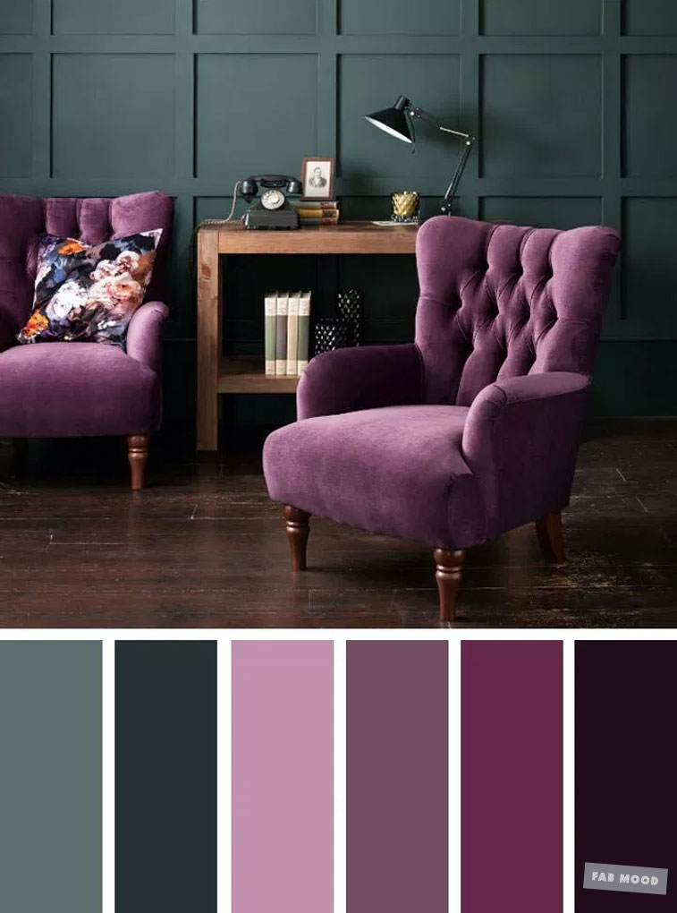 The Best Living Room Color Schemes – Dark Green & Purple