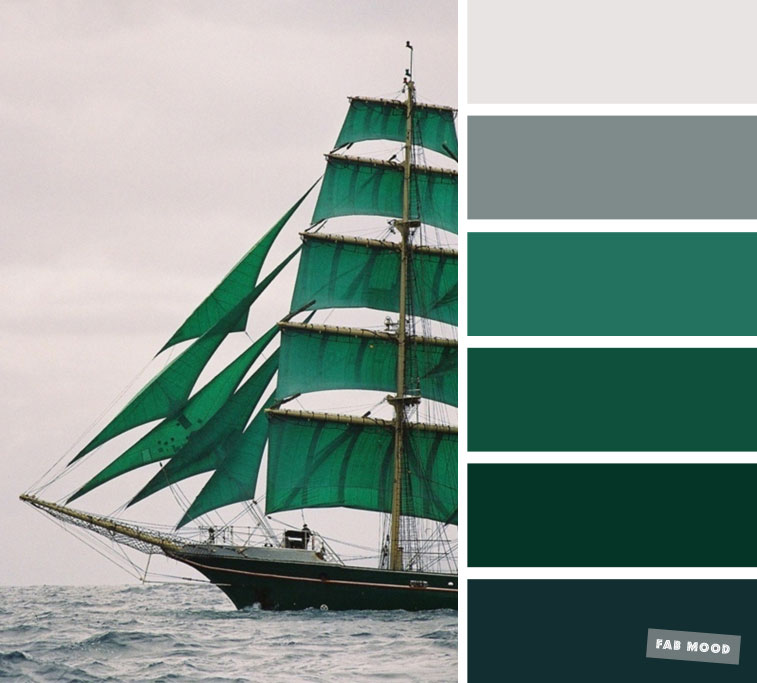 Emerald green and grey sea smoke color scheme