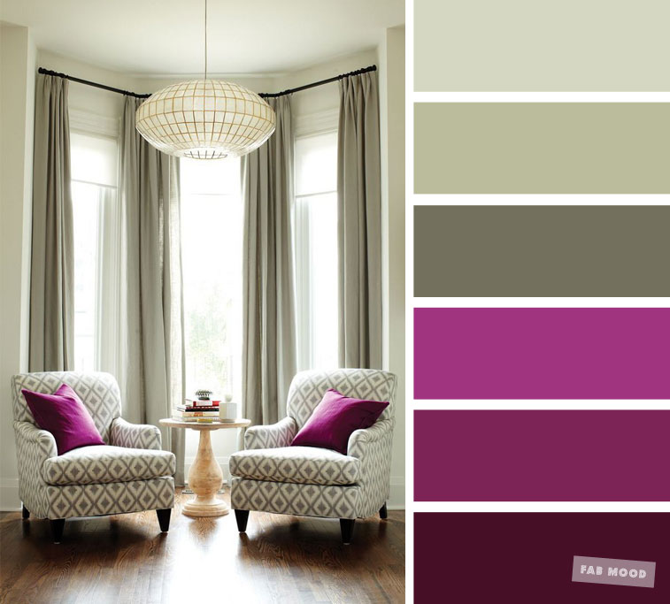The best living room color schemes - Magenta & Sage Color Palette