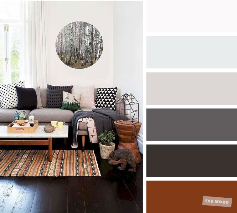 The best living room color schemes – Brown & Charcoal Palette