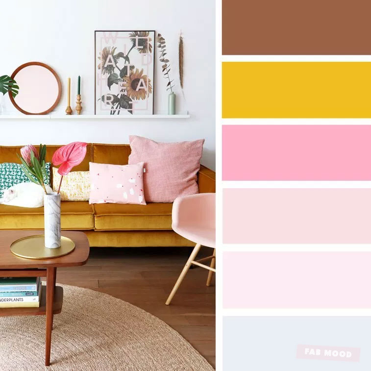 The Best Living Room Color Schemes – Grey + pink & mustard Color Palette