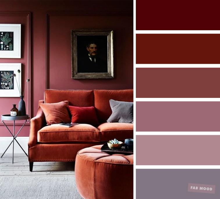 The best living room color schemes – Mauve & Brick colors
