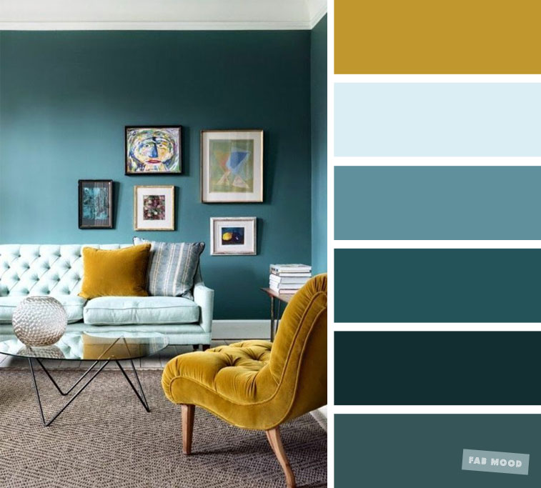 The best living room color schemes – Mustard, Teal and light blue color palette