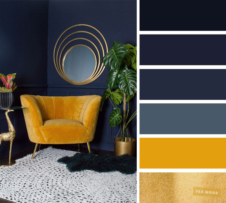 The best living room color schemes – Navy blue + yellow mustard and gold color schemes