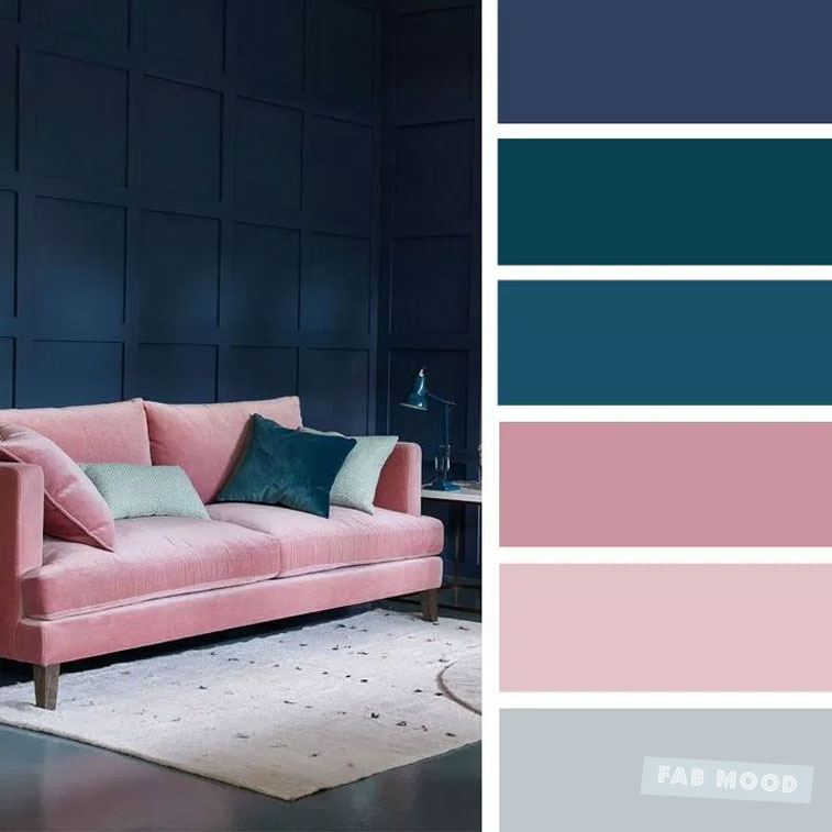 The best living room color schemes - Dark blue, teal , pink mauve Color Palette #colors #colorpalette #colorscheme