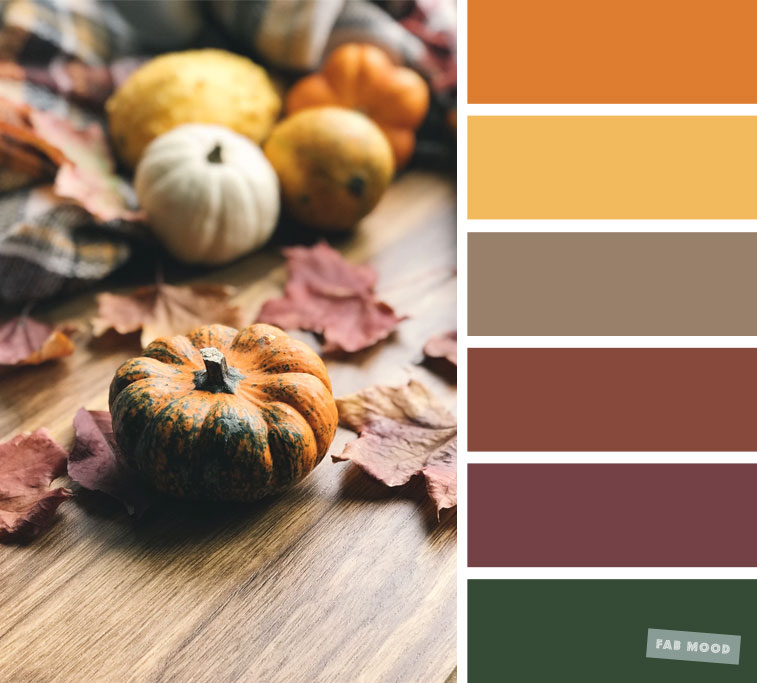 Pumpkin inspired color scheme - Autumn color scheme, color palette #color #colorscheme #mustard #autumn