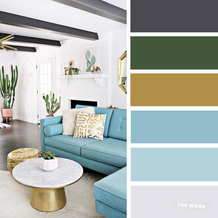 The Best Living Room Color Schemes – Sky blue + black & Gold Color Scheme #color #colorscheme #colorpalette