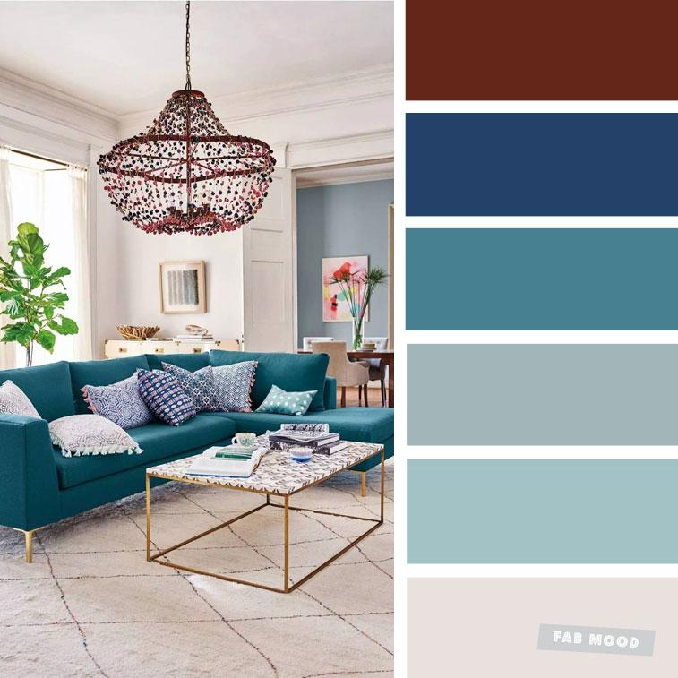 The Best Living Room Color Schemes – Grey & Teal Color Scheme #color #colorscheme #colorpalette