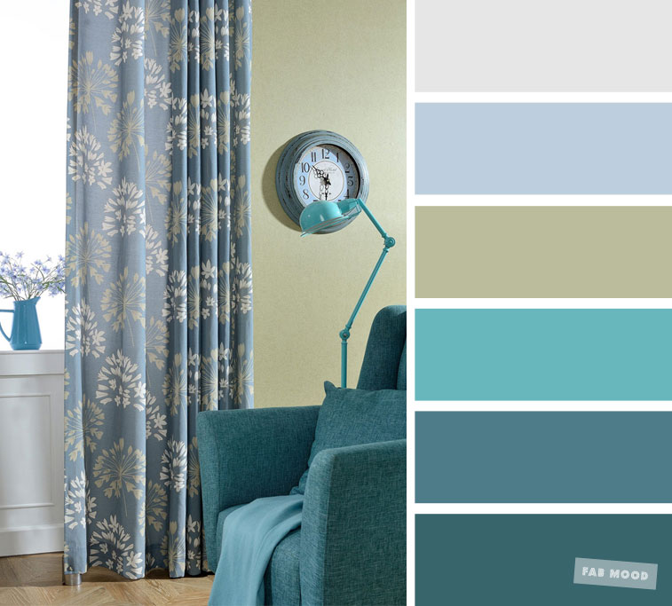 The best living room color schemes – Teal + Turquoise + Grey color palette