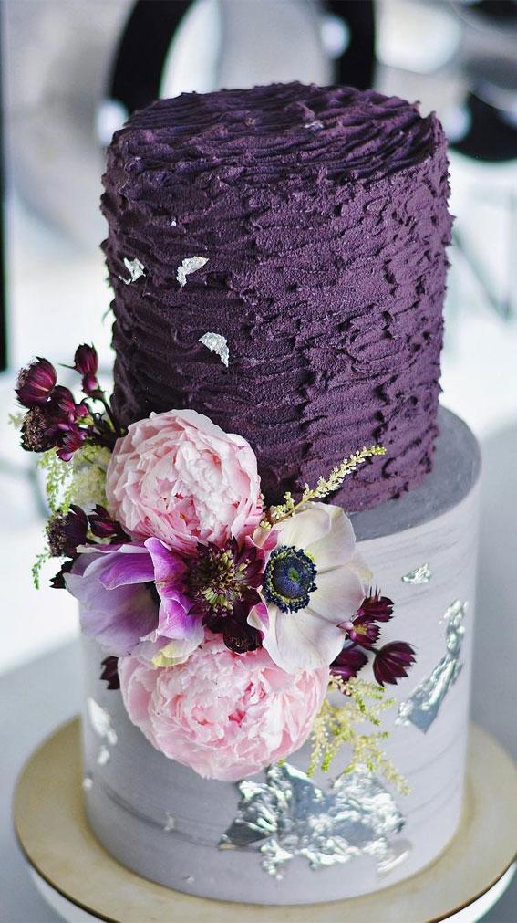 two tier buttercream wedding cake, purple wedding cake spatula painted two tier wedding cake #weddingcake #cake #buttercream #paintedweddingcake