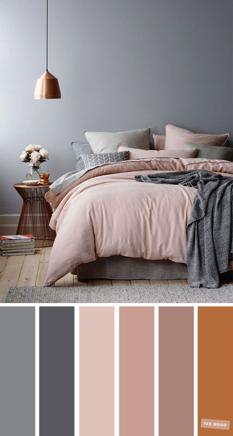 Copper, Grey and Mauve Color Scheme for Bedroom