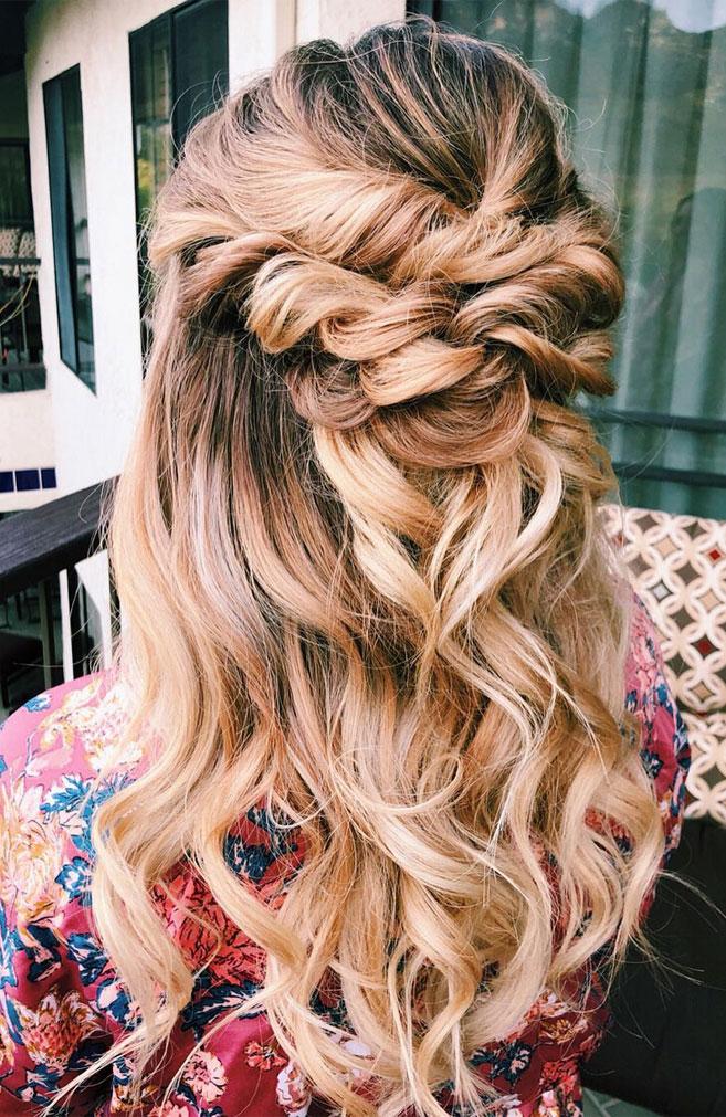 39 Gorgeous Half Up Half Down Hairstyles , braid half up half down hairstyles , partial updo hairstyle ,bridal hair ,boho hairstyle #hair #hairstyles #braids #halfuphalfdown #braidhair