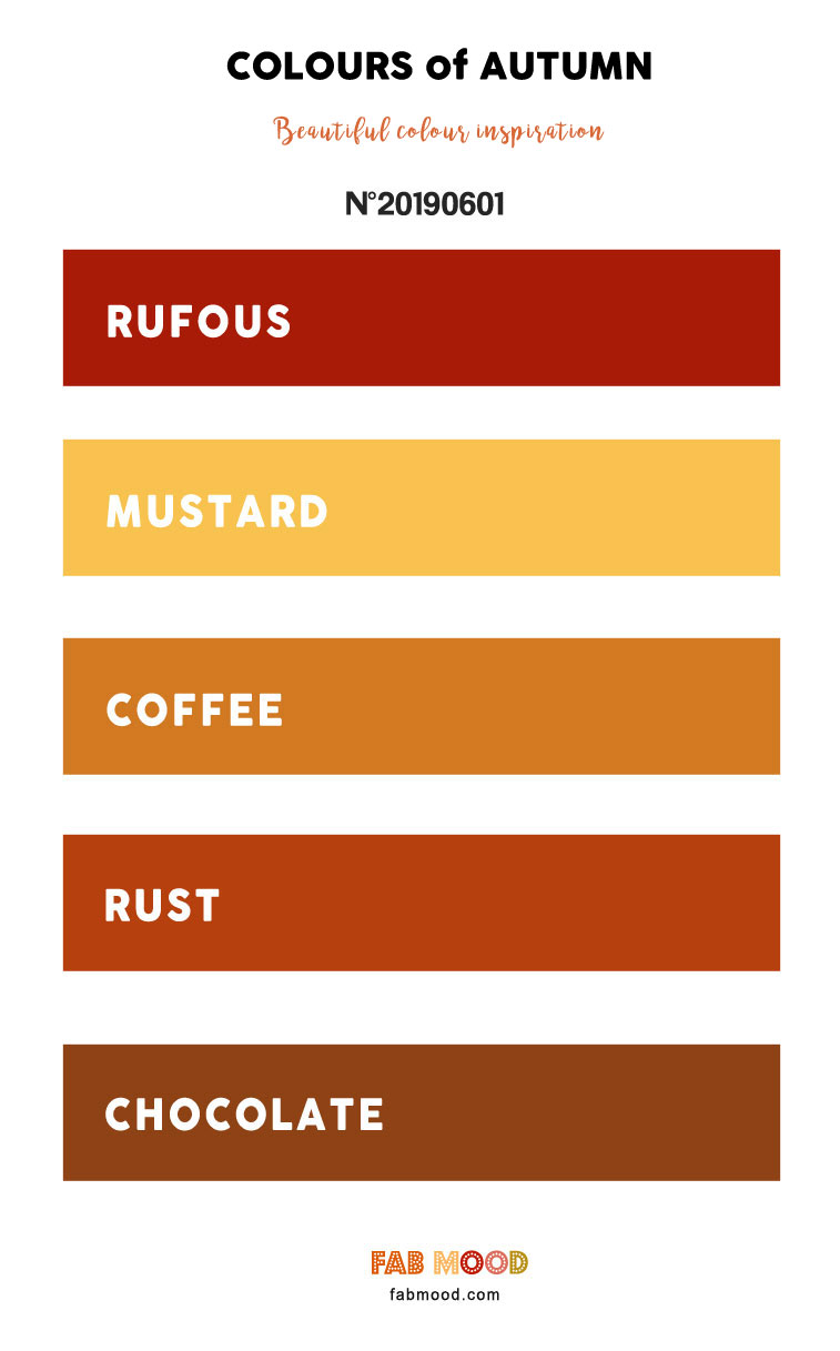 Rufous + Mustard + Coffee + Rust and Chocolate Brown – Warm Autumn Colours