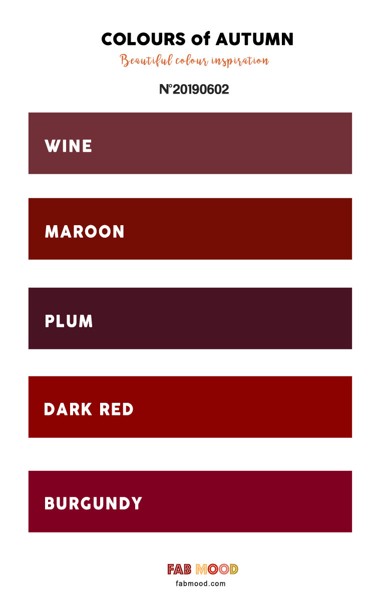 Pretty Autumn Color Palette of Wine + Maroon + Plum + Dark Red and Burgundy