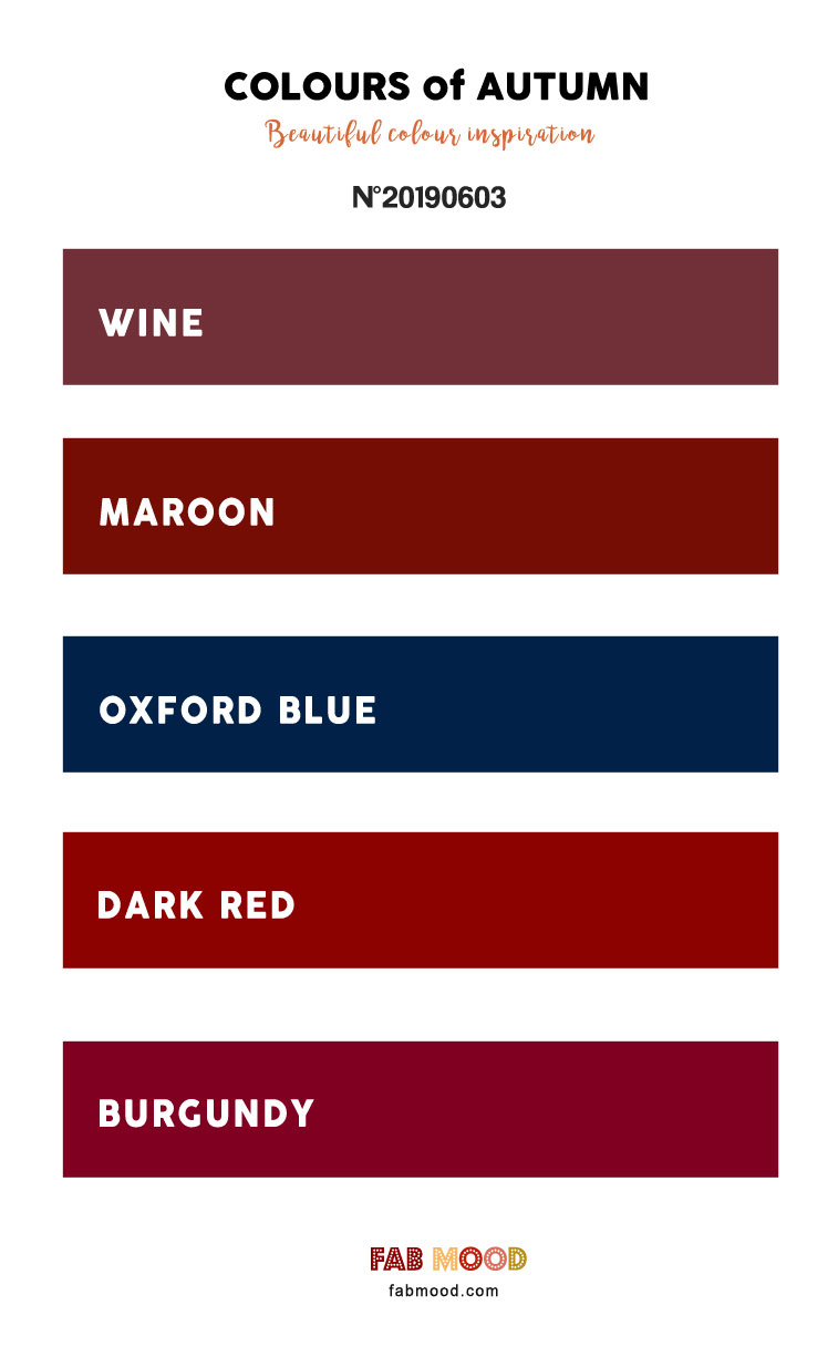 Wine + Maroon + Oxford Blue + Dark Red + Burgundy